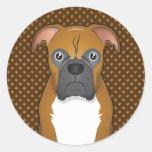 Boxer Dog Cartoon Paws Round Sticker