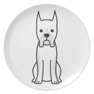 Boxer Dog Cartoon Dinner Plate