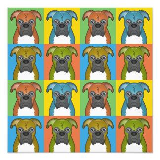 Boxer Dog Cartoon Pop-Art Photo Print