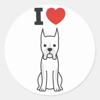 Boxer Dog Cartoon Round Stickers