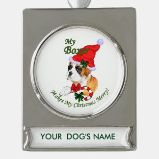 Boxer Dog Christmas Personalized Silver Plated Banner Ornament