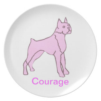 Boxer Dog Courage Cancer Awareness Plate