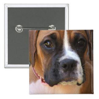 Boxer Dog Design Square Magnet Pinback Button