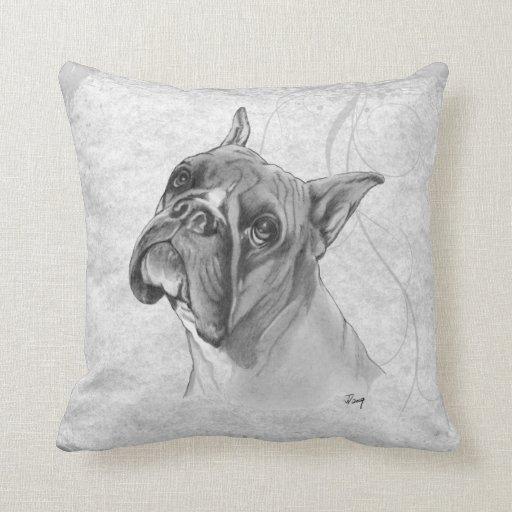 Throw Pillows Dogs : Boxer Dog Drawing Throw Pillow Zazzle