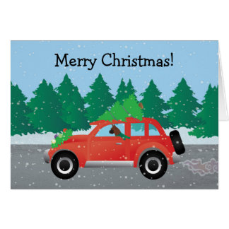 Boxer Dog Driving a car - Christmas Tree on Top Card