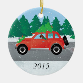 Boxer Dog Driving a car - Christmas Tree on Top Ceramic Ornament