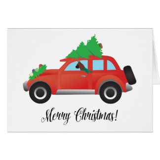 Boxer Dog Driving a car - Christmas Tree on Top Greeting Card