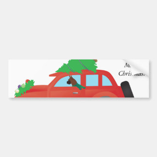 Boxer Dog Driving car w/ Christmas tree on top Bumper Sticker