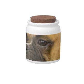 Boxer Dog Face Candy Jar