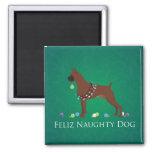 Boxer Dog Feliz Naughty Dog Christmas Design 2 Inch Square Magnet