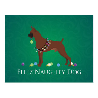 Boxer Dog Feliz Naughty Dog Christmas Design Postcard