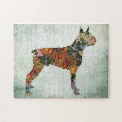 Boxer Dog Gifts - Floral Dogs On Green