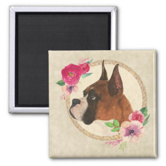 Boxer Dog & Floral Wreath Magnet