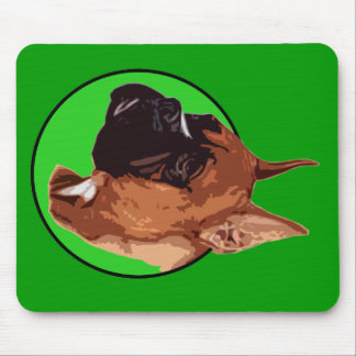 BOXER DOG GREEN MOUSE PAD