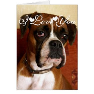 Boxer Dog Happy I Love You Card