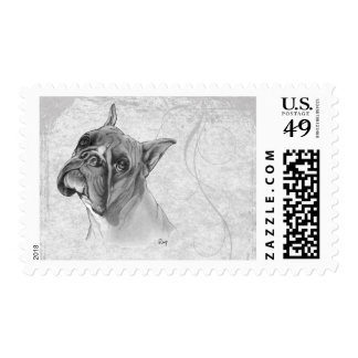 Boxer Dog Head Postage Stamp