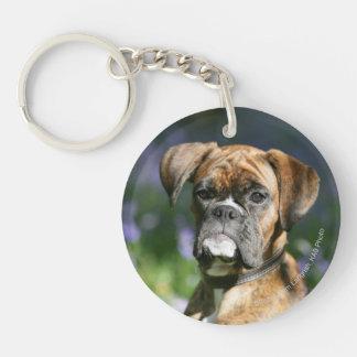 Boxer Dog Headshot Double-Sided Round Acrylic Keychain