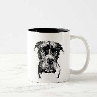 Boxer dog in black-and-white Two-Tone coffee mug