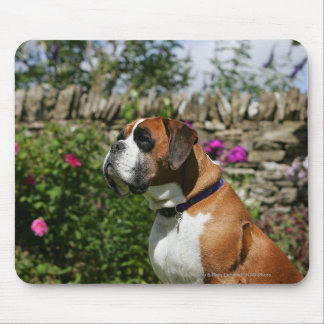 Boxer Dog in the Flowers Mouse Pad