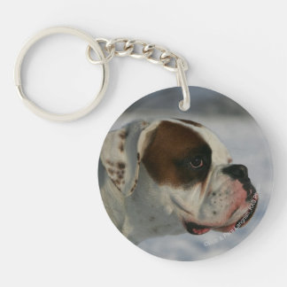 Boxer Dog in the Snow Double-Sided Round Acrylic Keychain