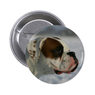 Boxer Dog in the Snow Pinback Button