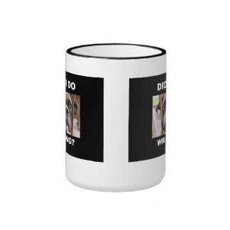 Boxer Dog In Trouble Ringer Coffee Mug