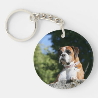 Boxer Dog Laying on a Rock Keychain