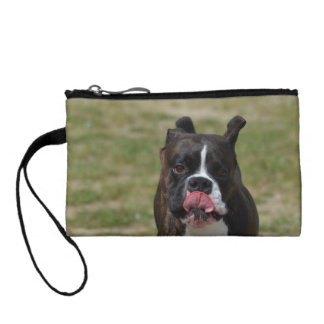 Boxer Dog Licking His Chops Change Purse