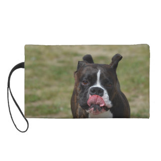 Boxer Dog Licking His Chops Wristlet Purses