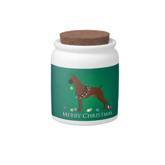Boxer Dog Merry Christmas Design Candy Jar