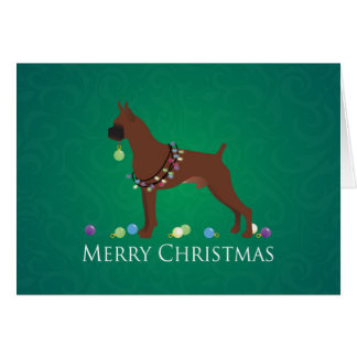 Boxer Dog Merry Christmas Design Greeting Card