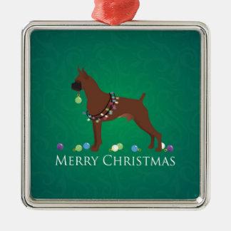 Boxer Dog Merry Christmas Design Metal Ornament