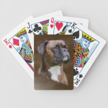 Boxer Dog Oil Painting Art Portrait Bicycle Playing Cards