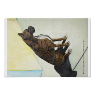 boxer dog oil painting poster