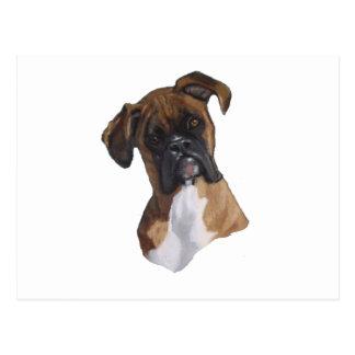 Boxer: Dog: Oil Pastel: Freehand Art Illustration Postcard