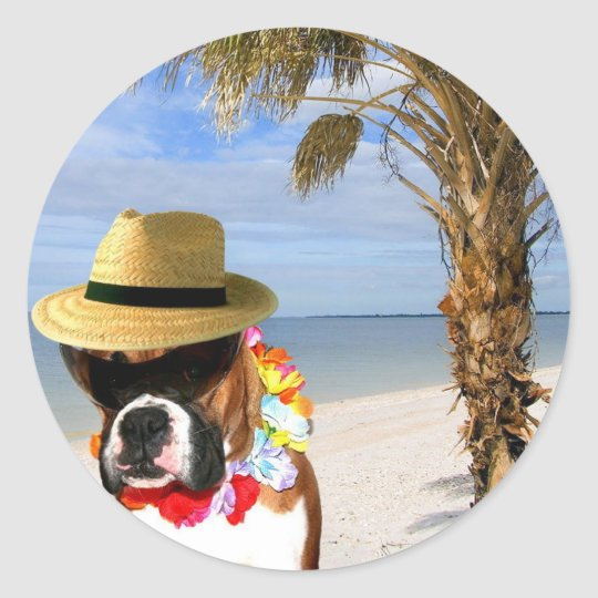 Boxer dog on the Beach stickers