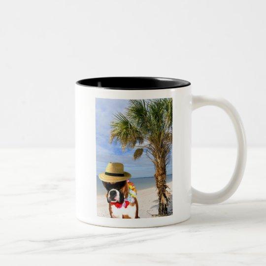 Boxer dog on the Beach Two-Tone Coffee Mug