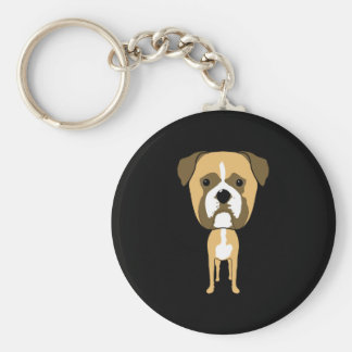 Boxer Dog. Oversized head. Keychain