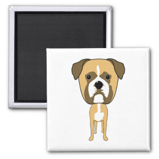 Boxer Dog. Oversized head. 2 Inch Square Magnet
