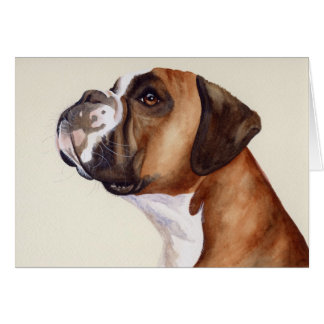 Boxer Dog Painted in Watercolour Card