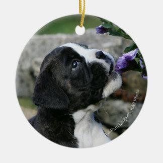 Boxer Dog Panting Ceramic Ornament