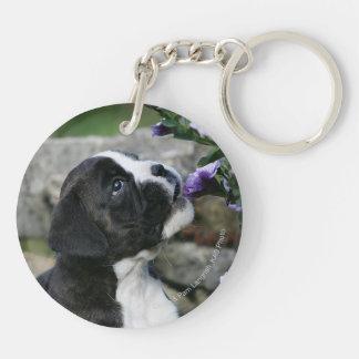 Boxer Dog Panting Double-Sided Round Acrylic Keychain