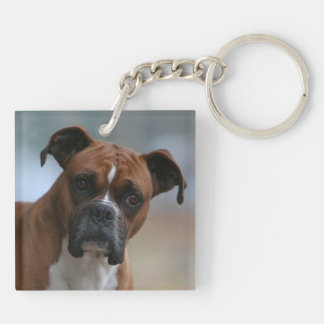 Boxer dog Portrait Double-Sided Keychain