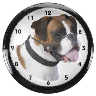 Boxer dog portrait photo fish tank clocks