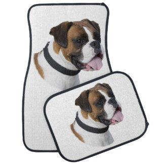 Boxer dog portrait photo car mat