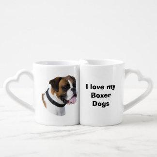 Boxer dog portrait photo coffee mug set