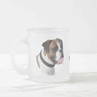 Boxer dog portrait photo frosted glass coffee mug