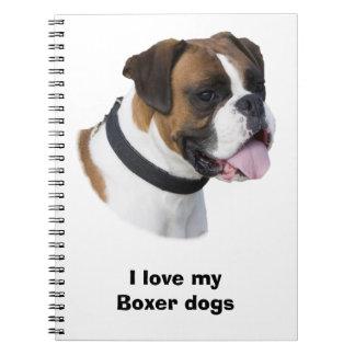 Boxer dog portrait photo notebook