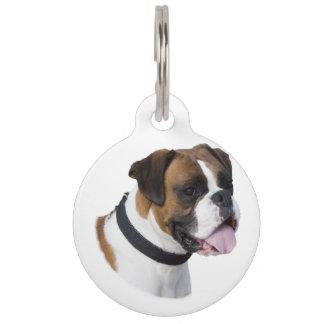 Boxer dog portrait photo pet ID tag