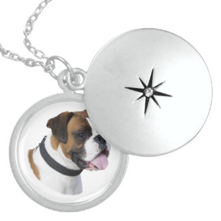 Boxer dog portrait photo round locket necklace